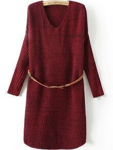 V Neck Long Sleeve Belt Wine Red Sweater Dress
