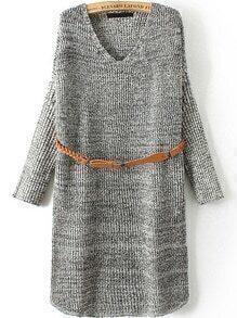 V Neck Long Sleeve Belt Pale Grey Sweater Dress