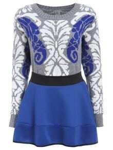 Long Sleeve Vintage Print Sweater With Flare Skirt