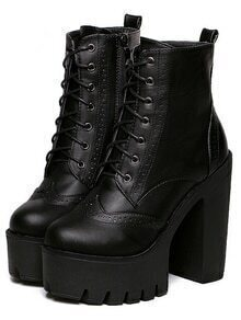 Black Lace Up PU Chunky Boots