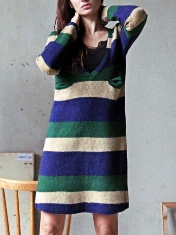 V Neck Striped Sweater Dress - $20.67