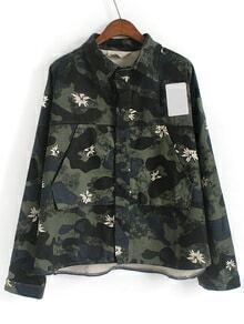 Lapel Dip Hem Camouflage Coat