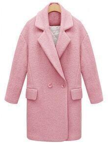 Lapel Double Breasted Woolen Pink Coat