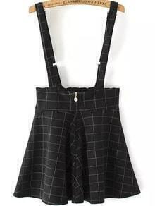 Strap Plaid Zipper Flare Black Dress