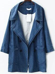 Lapel Double Breasted Denim Coat