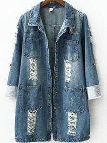 Lapel Ripped Pockets Denim Coat