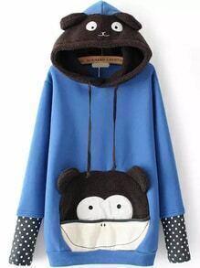 Hooded Bear Pattern Polka Dot Blue Sweatshirt