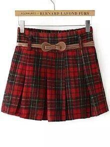 Plaid Belt Pleated Red Skirt