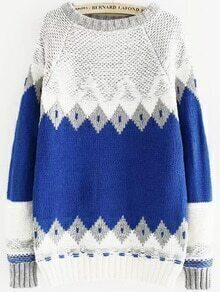 Diamond Pattern Blue Sweater