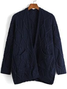 Cable Knit Pockets Navy Coat