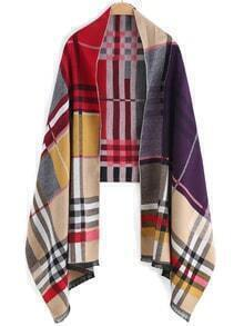 Patchwork Plaid Frayed Scarf