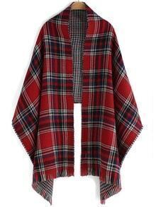 Plaid Frayed Red Scarf