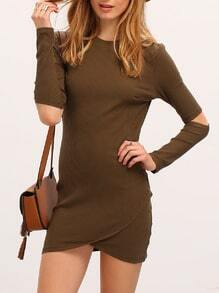 Army Green Long Sleeve Cut Out Bodycon Dress