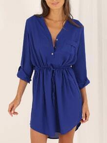 Blue Long Sleeve V Neck Dress