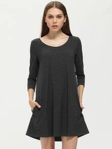 Grey Long Sleeve Pockets Dress