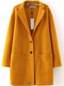 Lapel Single Breasted Pockets Yellow Coat