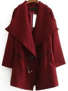 Lapel Edge Pockets Woolen Wine Red Coat