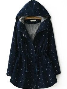 Hooded Leaves Print Drawstring Navy Coat
