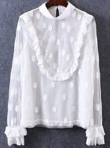 Ruffle Sleeve Crown Embroidered Blouse