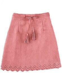 Scalloped Hem Suede A-Line Pink Skirt