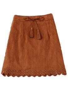 Scalloped Hem Suede A-Line Camel Skirt
