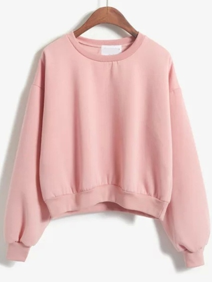 Sweat-shirt de finition col rond -rose