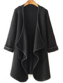 Long Sleeve Drape Front Black Coat