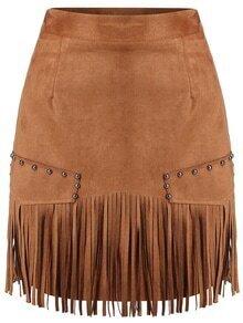 Tassel Bead Brown Skirt