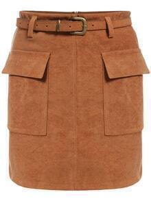 Pockets Suede Bodycon Skirt