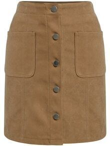 Single Breasted Pockets Suede Khaki Skirt