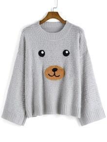 Bear Pattern Shaggy Sweater