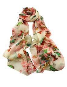 Pink Flower Butterfly Printed Voile Fashionable Scarf