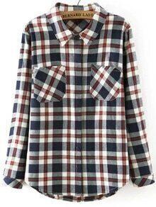 Lapel Checkered Pockets Blouse