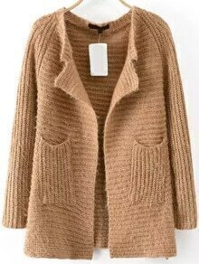 Open Front Pockets Khaki Coat