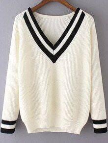 V Neck Varsity-Striped White Sweater