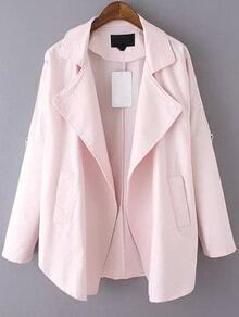 Lapel Long Sleeve Pink Coat