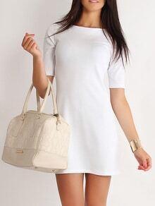 Half Sleeve A-Line White Dress