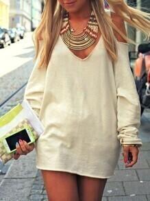 Apricot Long Sleeve Cold Shoulder Dress