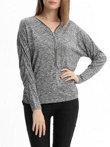 Grey Long Sleeve V Neck Zipper Sweater