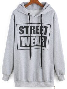 Hooded Drawstring Letter Print Sweatshirt