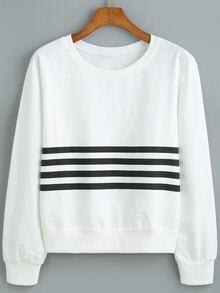 Round Neck Striped Loose Sweatshirt
