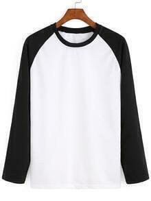 Round Neck Contrast Sleeve Black White Sweatshirt