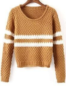Striped Chunky Knit Khaki Sweater