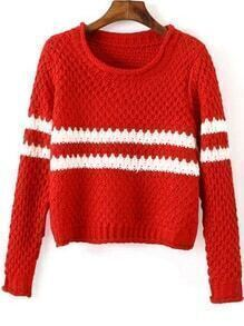 Striped Chunky Knit Red Sweater