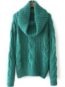 Turtleneck Cable Knit Green Sweater