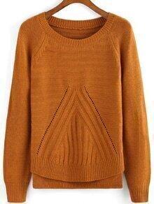 Round Neck Slit Side Khaki Sweater