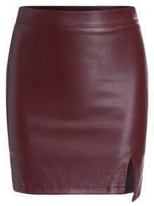 Slit PU Bodycon Wine Red Skirt
