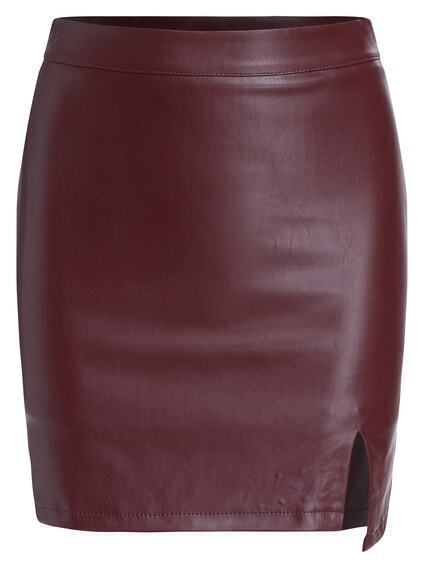 Slit PU Bodycon Wine Red Skirt