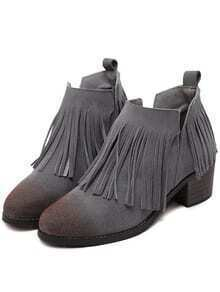 Grey Brush Pointed Toe Tassel Boots