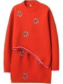 Bead Asymmetrical Sweater With Knit Orange Skirt